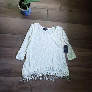 Almost Famous cream crochet lace trim sweater L